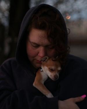 Devani Riggs and her dog, Zaya, in Patterson, California.