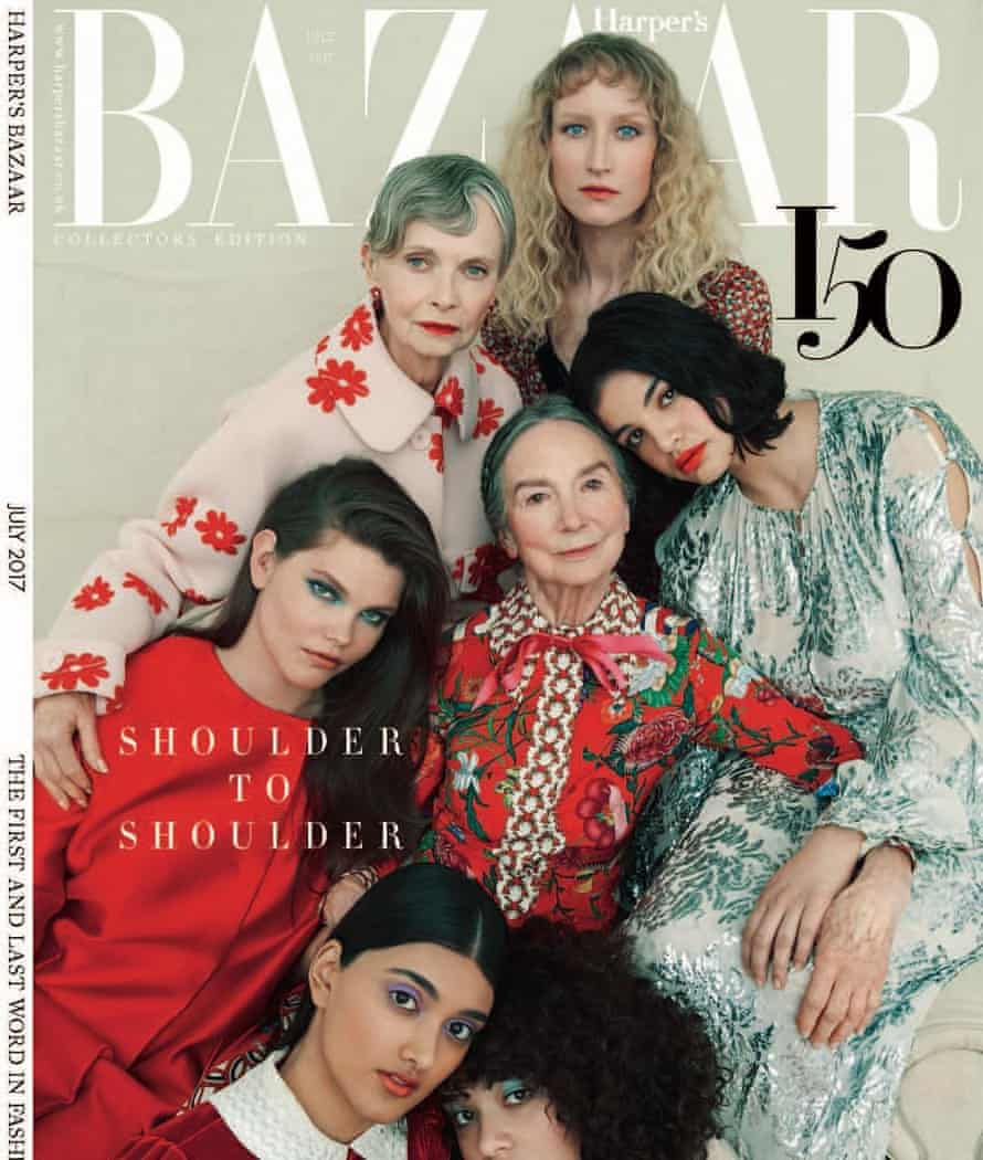 The cover of Harper's Bazaar's latest diversity issue, featuring 84-year-old Frances Dunscombe.
