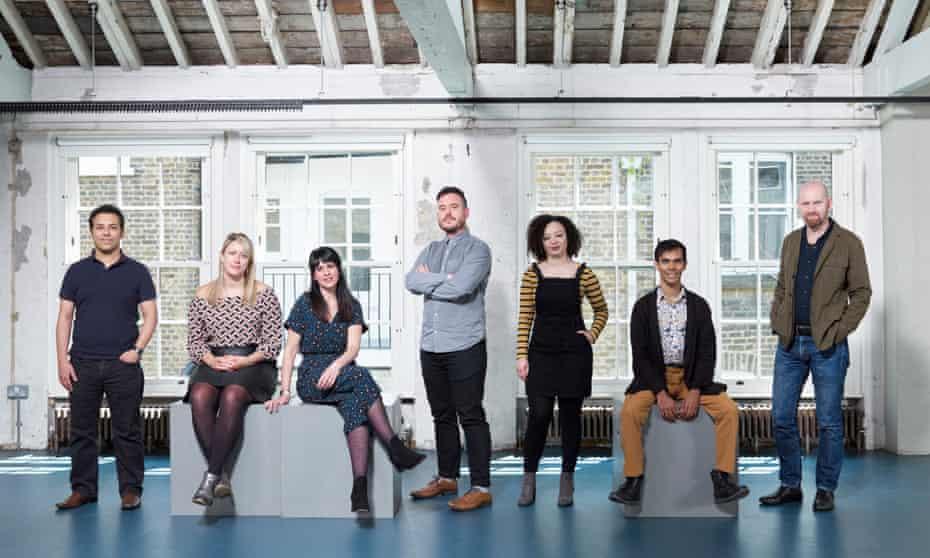 Left to right: Tarek Iskander, Charlotte Bennett, Katie Posner, Michael Longhurst, Lynette Linton, Suba Das and Sean Foley