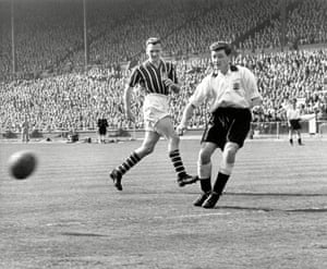 Don Revie (left) and Jeff Hall in the 1956 FA Cup Final between Manchester City and Birmingham
