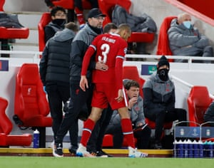 Fabinho hobbles off with an injury as Klopp remonstrates
