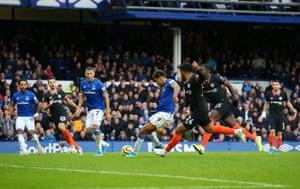 Calvert-Lewin of Everton scores.