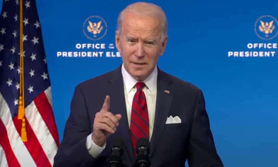 Joe Biden speaks in Wilmington, Delaware.