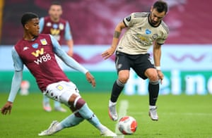 Bruno Fernandes wins a penalty for Manchester United against Aston Villa