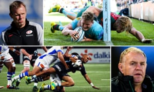 Saracens Mark McCall, orcester Warriors Ted Hill scores the winning try, BNewcastle Falcons Dean Richards and Racing92's Simon Zebo scores.