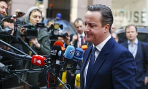 David Cameron arriving for a second day of talks at the EU summit