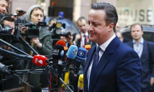 David Cameron arrives at the February summit at which he renegotiated Britain's EU deal.