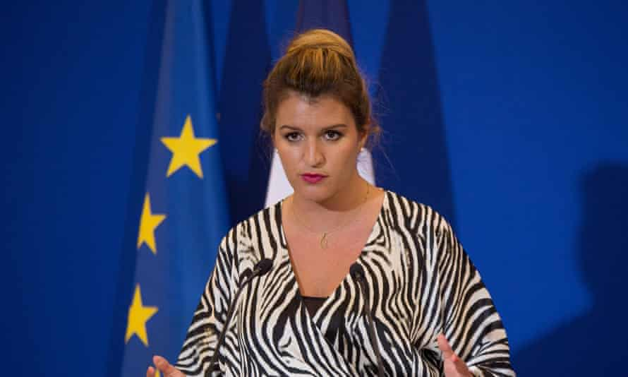 Marlène Schiappa in front of an EU flag