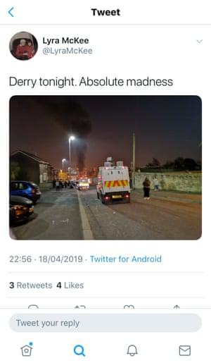 El último tweet publicado por Lyra McKee antes de que los mataran a tiros