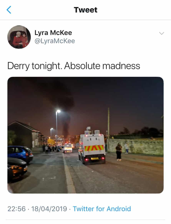 A screengrab of McKee's final tweet
