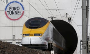 A Eurostar train exiting the Channel tunnel in Coquelles, France.