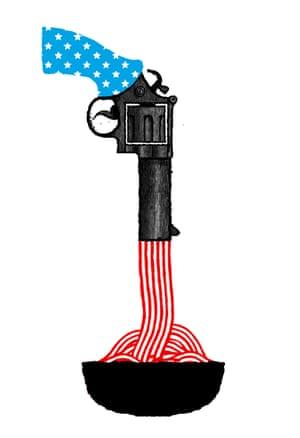 illustration by David Foldvari of a gun firing spaghetti into a bowl.