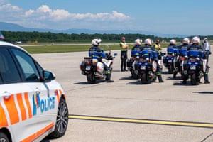 Police on motorcycles ready to escort Putin's motorcade