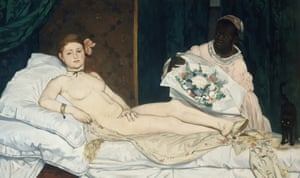 Édouard Manet's Olympia, featuring a nude in kitten heels.