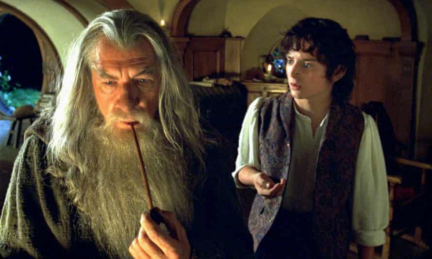 Sir Ian McKellen and Elijah Wood in Peter Jackson's Lord of the Rings trilogy.
