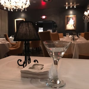 Martini on Frank Sinatra's regular table at Melvyn's restaurant at the Ingleside Inn, Palm Springs.