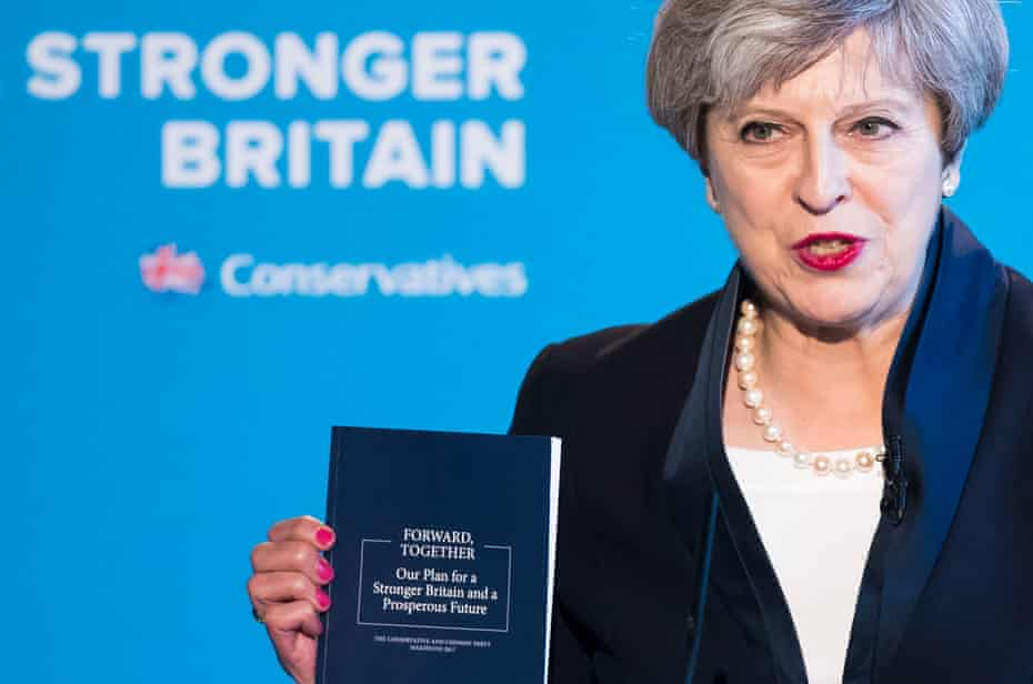 Theresa May launching the 2017 Conservative election manifesto.