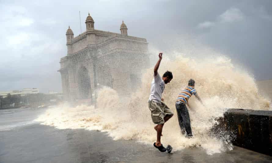 High tides lash Mumbai on the western Indian coast.