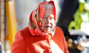 Queen Elizabeth II leaves King's Lynn station wearing a headscarf