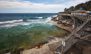 Wylies Baths, heritage sea baths at Coogee with Wedding Cake Island in background, Grant Reserve.Sydney, New South Wales, Australia, Australasia