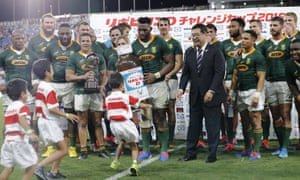 South Africa were the first team to arrive in Japan for the Rugby World Cup and played against the hosts in Kumagaya.