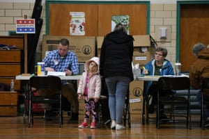 The polls at the Fairgrounds Middle School in Nashua, New Hampshire.