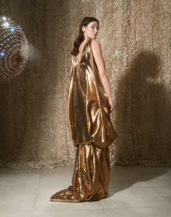 Golden moment: Gemma Arterton wears dress by halpernstudio.com and earrings by Alighieri x Nanushka, nanushka.com.