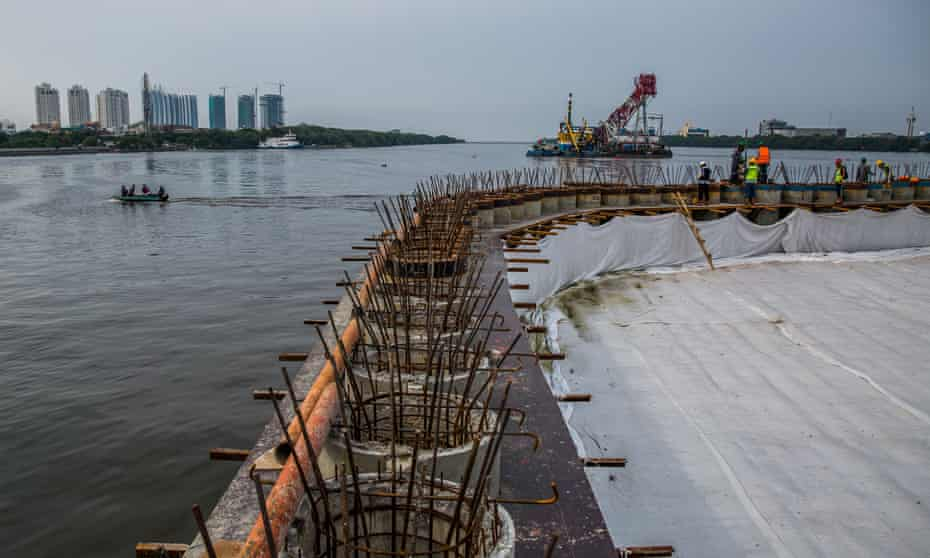 A seawall is under construction in Muara Baru.