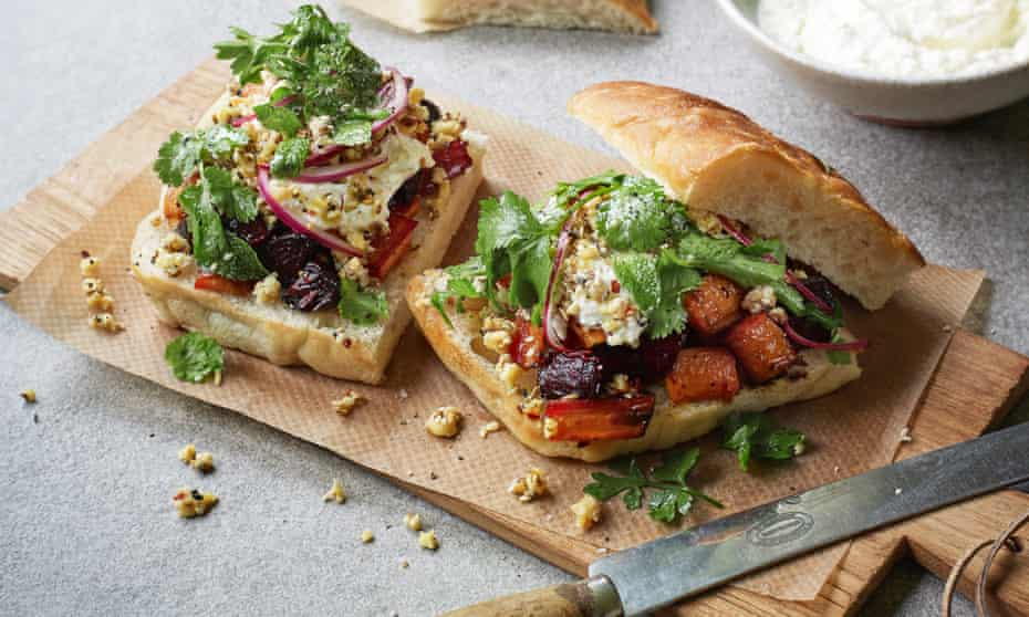 Roasted beetroot, carrot, spiced nuts and whipped feta by Rebecca Oliver.
