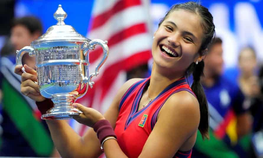 Emma Raducanu celebrates with the US Open trophy after her stunning grand slam title win last weekend