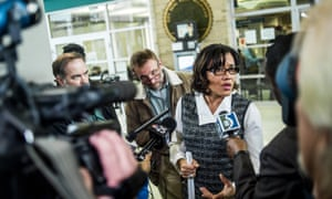 Mayor Karen Weaver fields reporters' questions after declaring a state of emergency on 15 December.