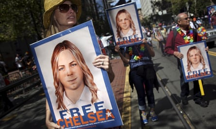 Marchers at San Francisco pride call for Chelsea Manning's release in June 2015.