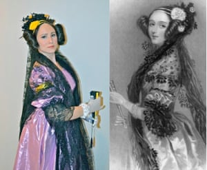 Ada Lovelace Halloween Costume worn by Victoria Jaggard, with portrait of Lovelace by Alfred Edward Chalon