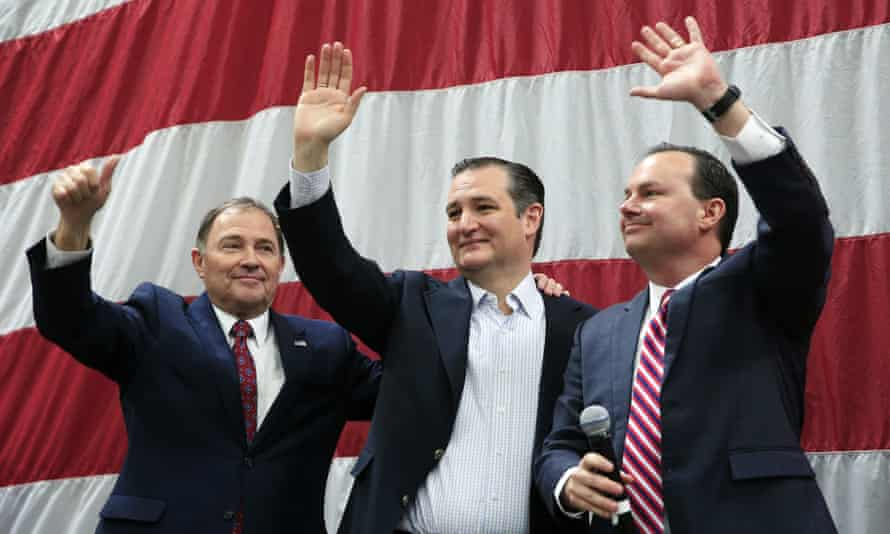 Ted Cruz with Utah governor Gary Herbert (left) and senator Mike Lee (right). The Republican presidential candidate won a lopsided victory in the state's 22 March caucus.