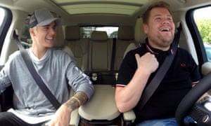 Justin Bieber and James Corden in Carpool Karaoke.