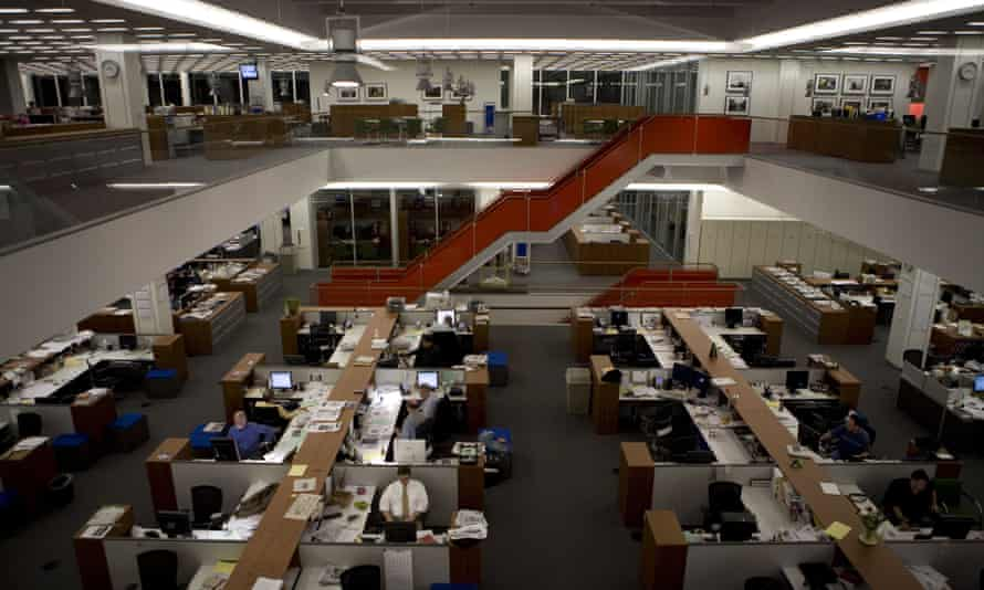 The newsroom at the New York Times, which has taken legal action against news platform Brave.