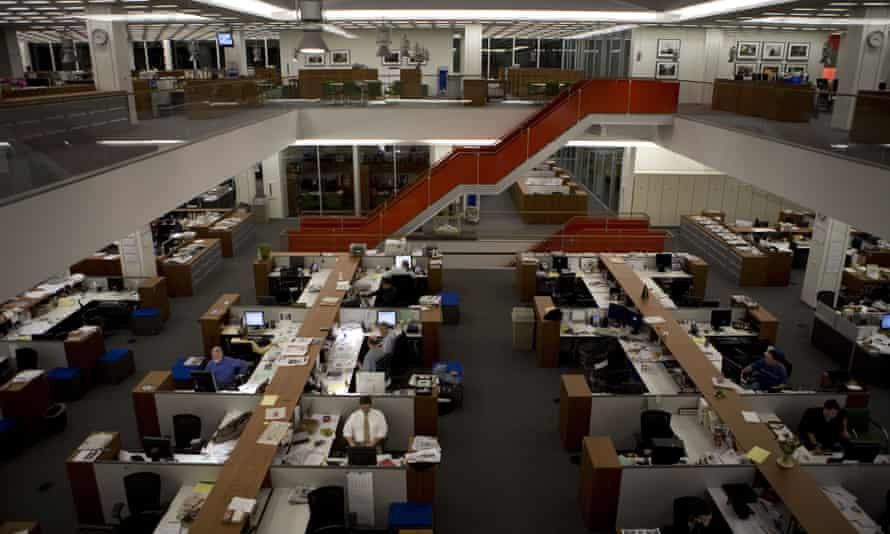 The newsroom at the New York Times building in May 2008.