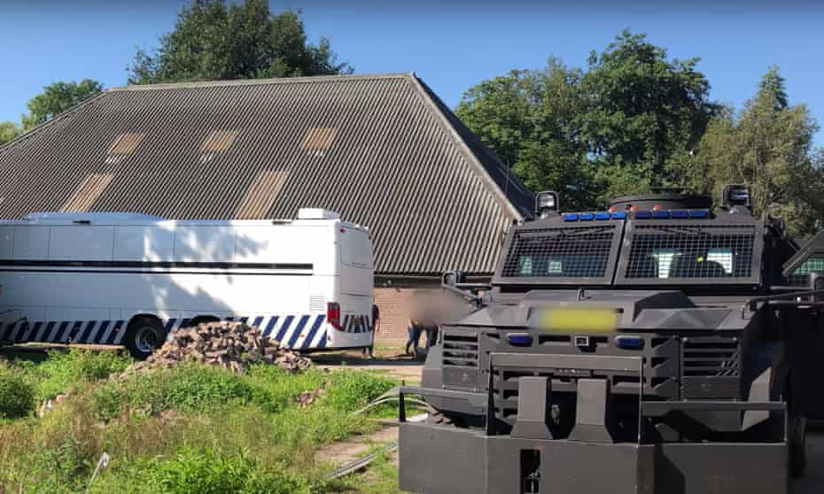 The former riding stables in Nijeveen, raided by Dutch police.