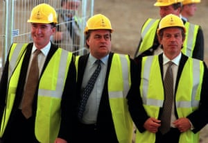 Peter Mandelson, John Prescott and Tony Blair attending the topping out ceremony at the Millennium Dome in 1998.