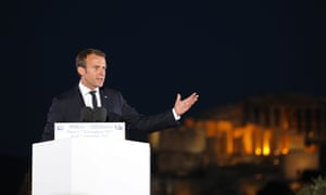 French president Emmanuel Macron delivers a speech on the Pnyx hill with the Acropolis in the backround in Athen.