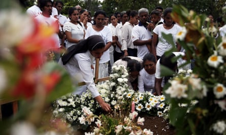 The funeral of Dhami Brindya, 13, a victim of the bombings on Easter Sunday.