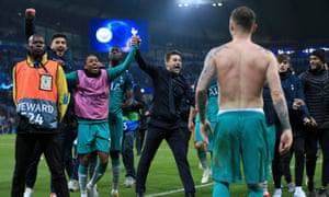 Mauricio Pochettino celebrates with his Tottenham players after their extraordinary Champions League semi-final second leg at Manchester City.
