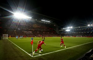 A view of the Champions League match between Liverpool and Napoli at Anfield. The result was 1-1.