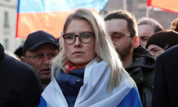 Lyubov Sobol, a lawyer for the Alexei Navalny Anti-Corruption Foundation, participates in a rally in February 2020.