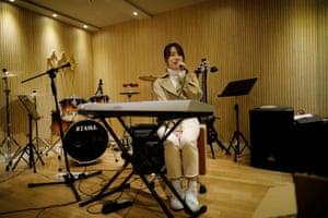 Miyu Takeuchi sings during a training session in Seoul, South Korea,