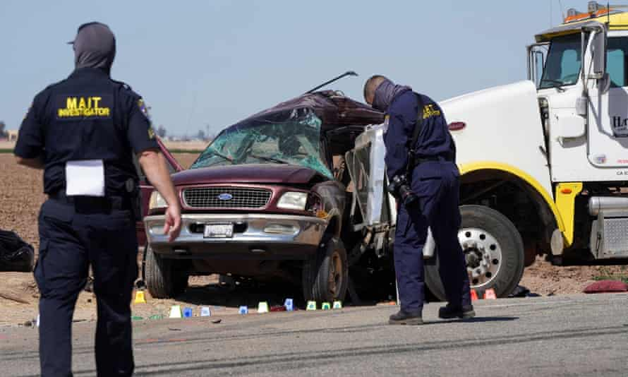 Law enforcement at the scene of the deadly crash in Holtville, California.
