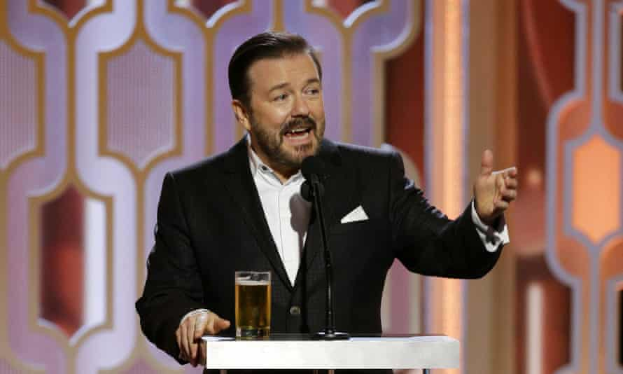 Ricky Gervais at the 73rd Annual Golden Globes in 2016, the last time he hosted the awards show.