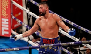 Tony Bellew celebrates after stopping David Haye in the fifth-round.