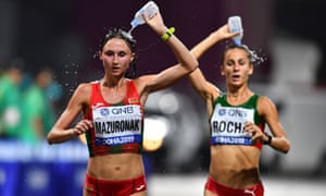Belarus' Volha Mazuronak and Portugal's Salome Rocha in the women's marathon at the world championships in Qatar.