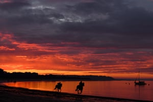 Balnarring, Australia: horses from Kevin Corstens' racing stables are seen in action during a trackwork session at Balnarring Beach